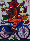 "Biking Ganeesh 1- 22"" x 30""-SOLD"