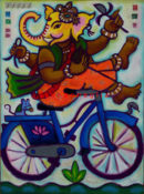 "Biking Ganeesh 3 - 22"" x 30""- SOLD"
