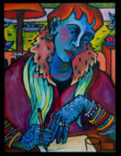 "Ganpati Cafe - 24"" x 30""- SOLD"