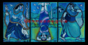 "Modern India Triptych - 60"" x 30"" AVAILABLE"