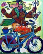 """Biking Ganeesh #12 - 14"""" x 18"""""""