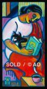 "Reader w/ Cat #1 - 8"" x 16"""