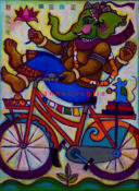 "Biking Ganeesh 4 - 22"" x 30""- SOLD"