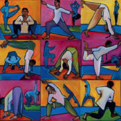 "Asanas # 1-9 - 12""x12"" each -AVAILABLE"