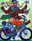 "Biking Ganeesh #12 - 14"" x 18"""