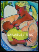 "Nursing Mother & Child#3 - 18"" x 24""-"